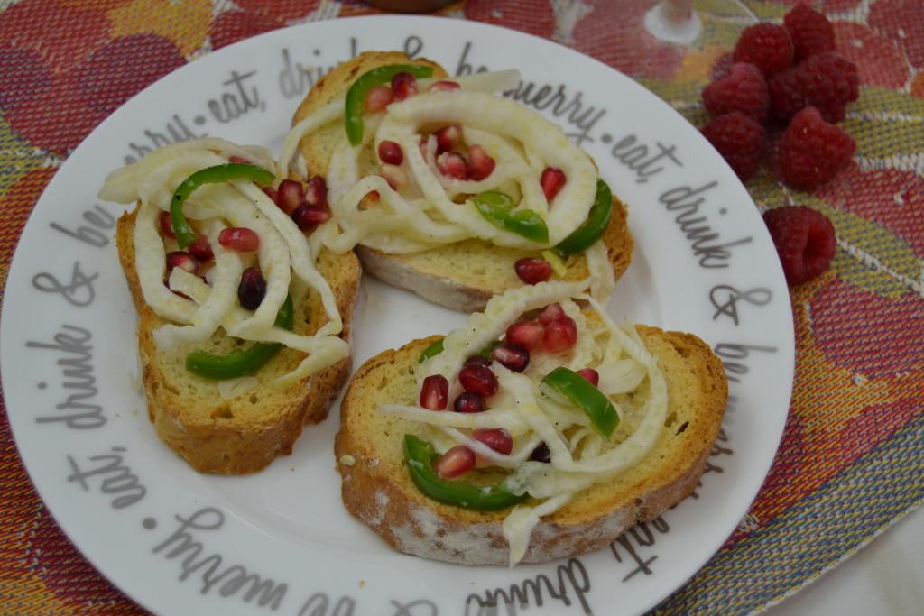 Fennel Pomegranate Crostini