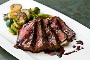 Curtis Stone's Seared Pepper Steak with Caramelized Brussels Sprouts