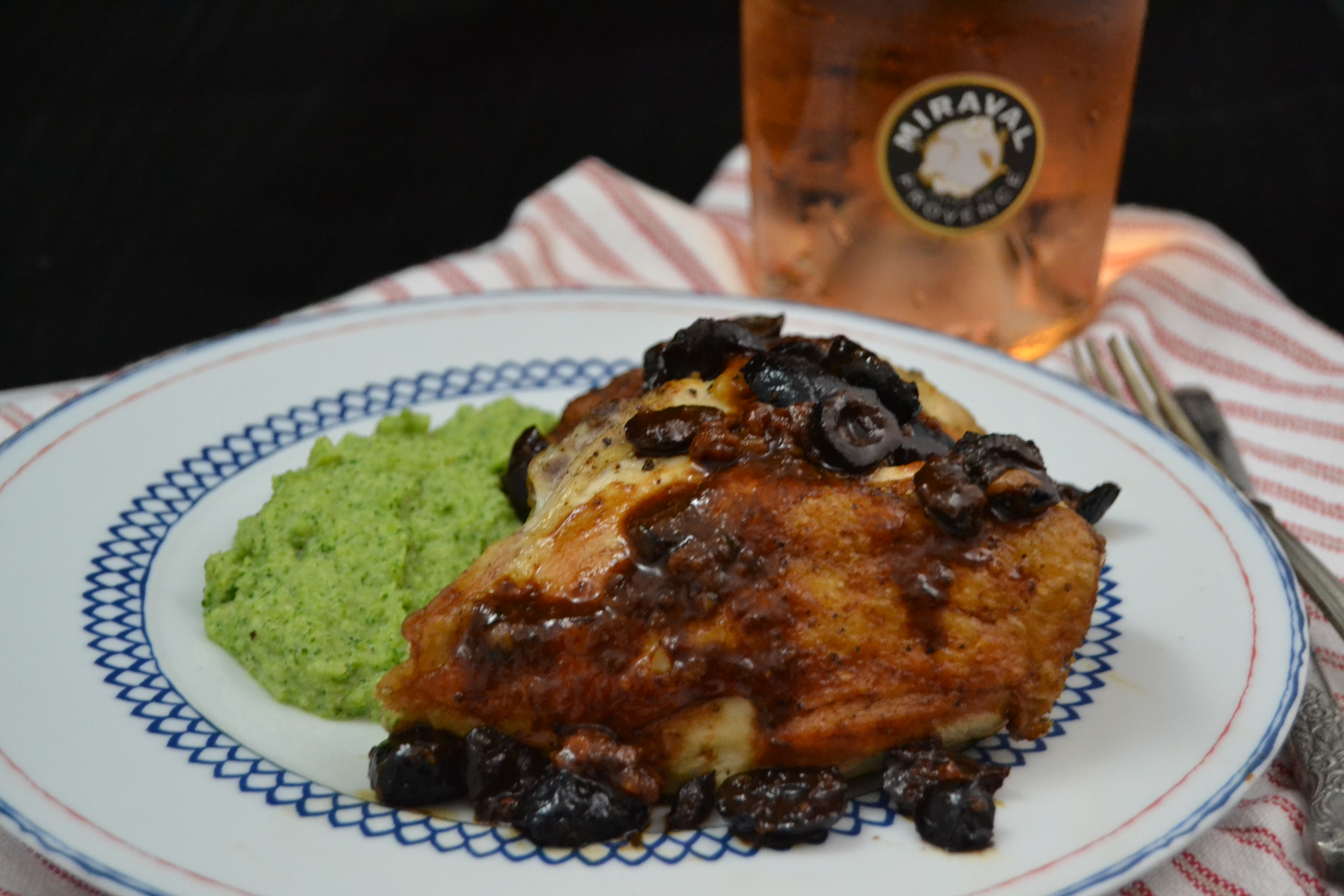 Pan-Roasted Chicken with Nyons Olives and Broccoli Puree