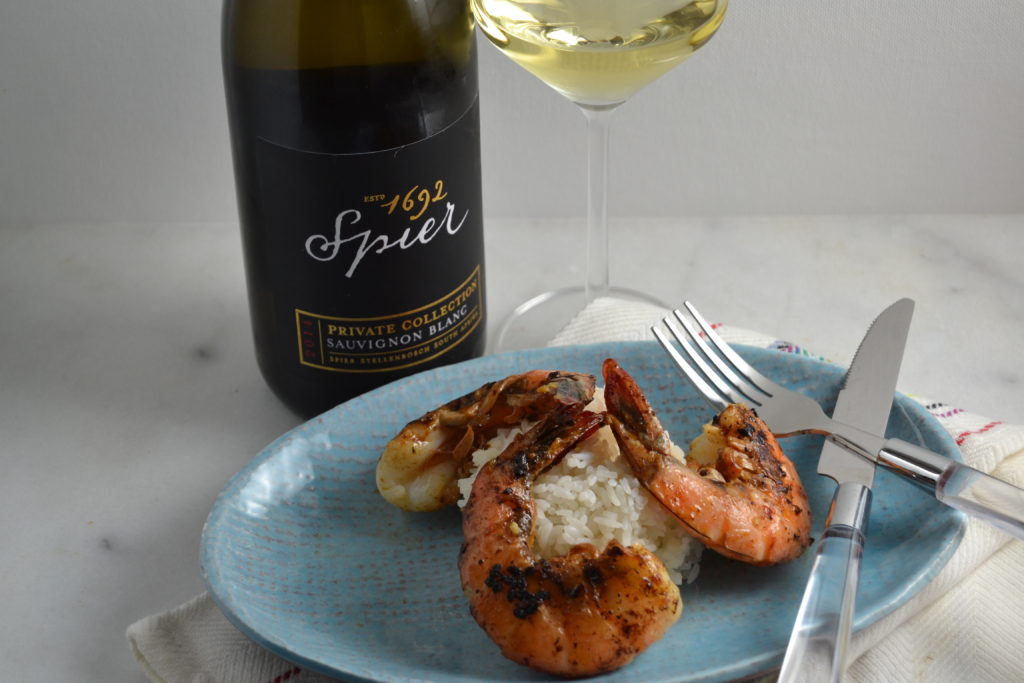 Shrimp Peri-Peri with 1692 Spier Private Collection Sauvignon Blanc